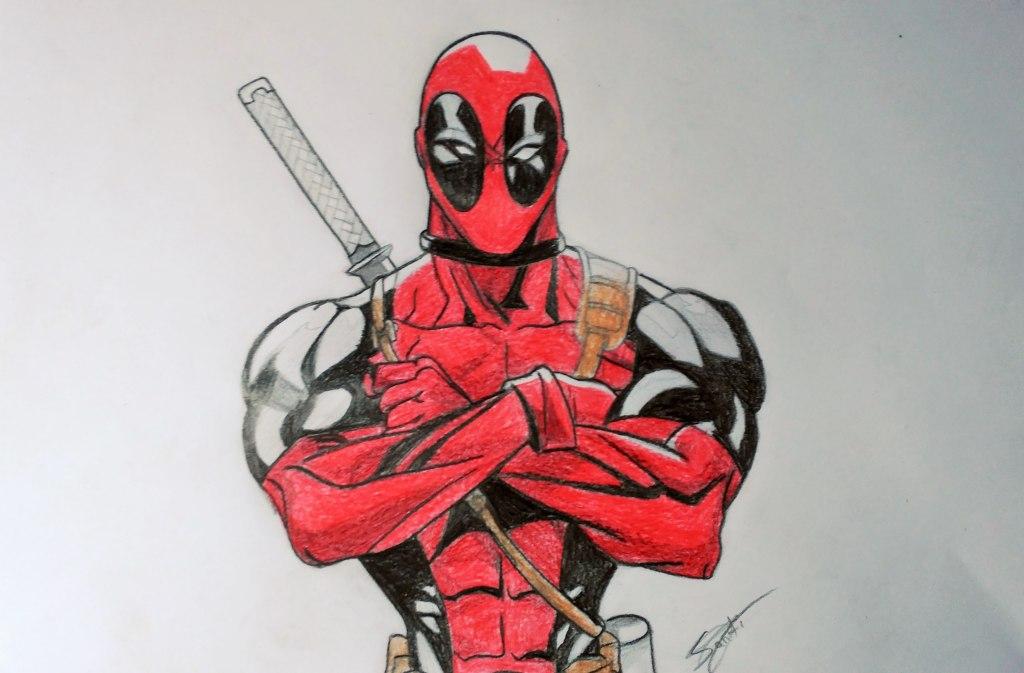 """""""Es mi superhéroe favorito. Se llama Deadpool. Lo dibujé porque en 2016 van a estrenar su película en los cines y me apeteció dedicarle un dibujo. Me encantó como quedó"""" (Santiago)"""