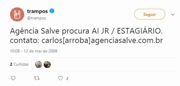 O primeiro tweet do trampos, ainda como projeto pessoal de tiago Yonamine, em 2008.