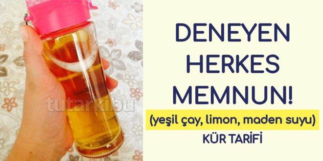 Yeşil çay, limon, maden suyu kürü tarifi