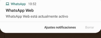 inicio de whatsapp web notificacion