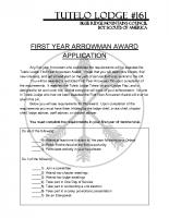 First Year Arrowman Award Application