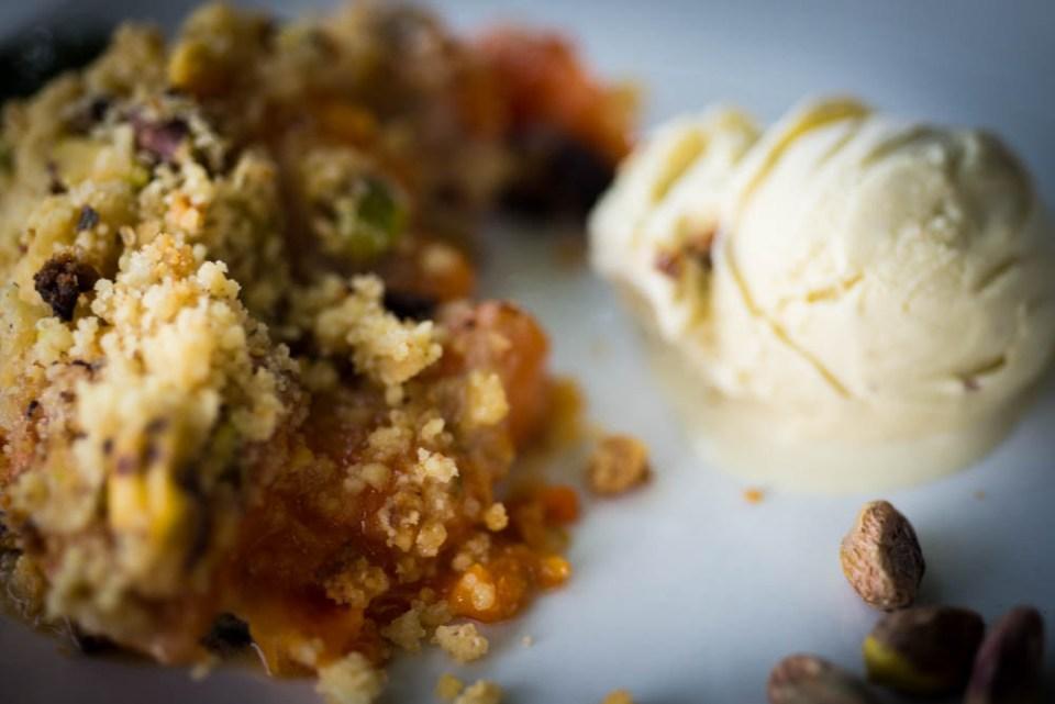 crumble abricot pistache glace