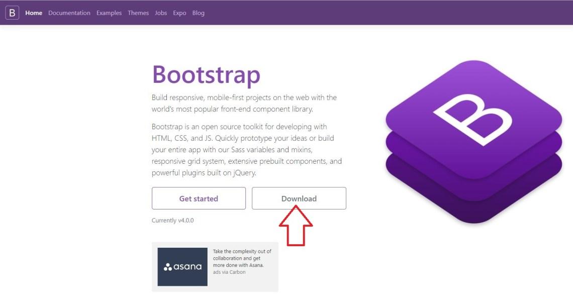 Página de descarga de Bootstrap
