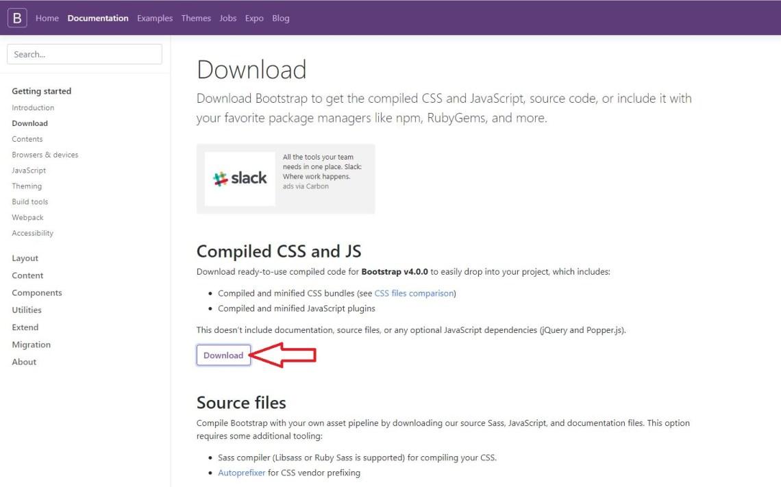 Descargar ficheros de Bootstrap