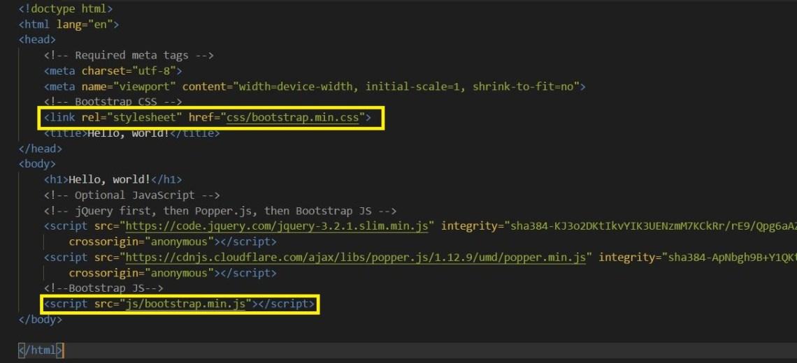 Sustituir enlaces de Bootstrap por ficheros locales