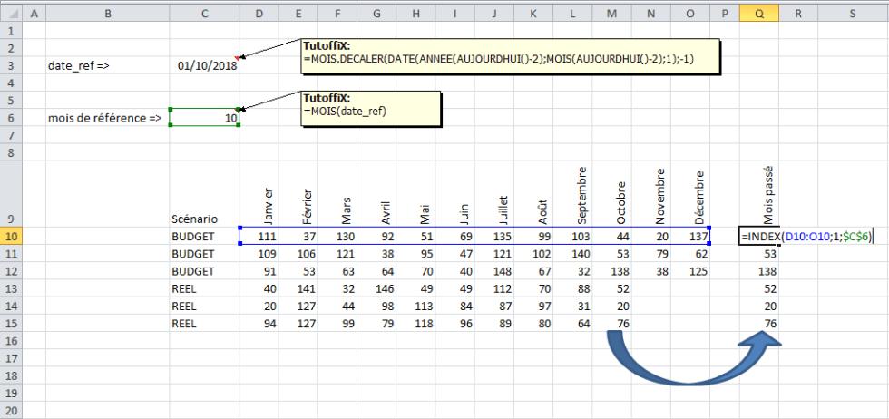 INDEX() mise à jour fichier Excel date fonction