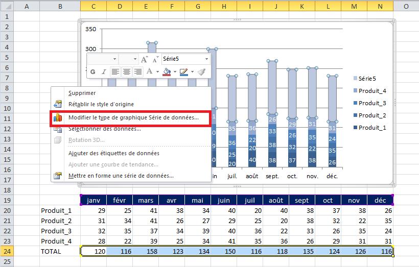 graphique excel histogramme ajout afficher total automatique