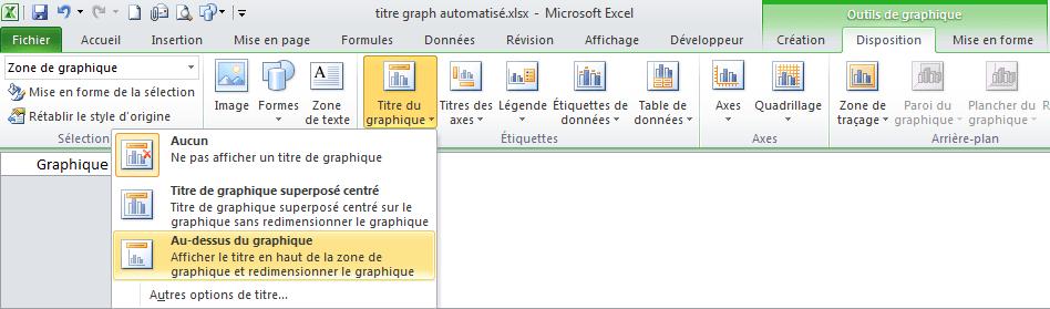 titre automatisé dynamique graphique excel afficher titre