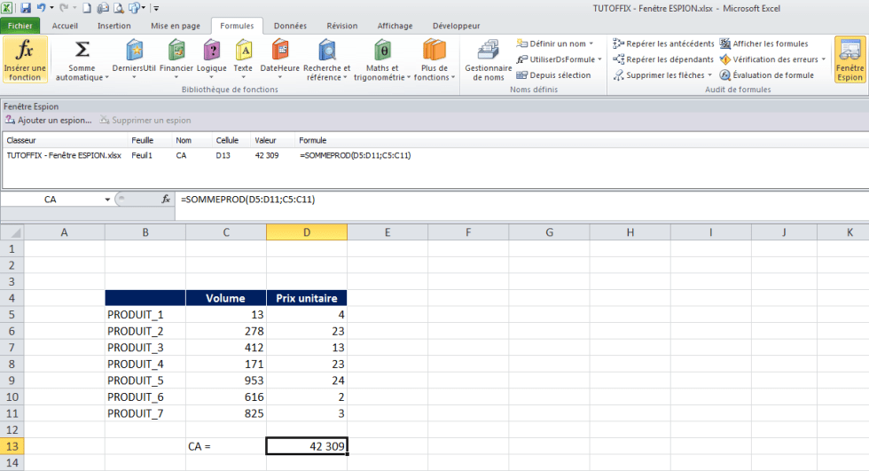 Excel fenetre espion affichage cellule résultat formule paramètre