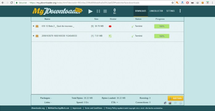 Le Web Interface de JDownloader