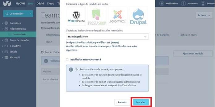Installer WordPress en 1 clic