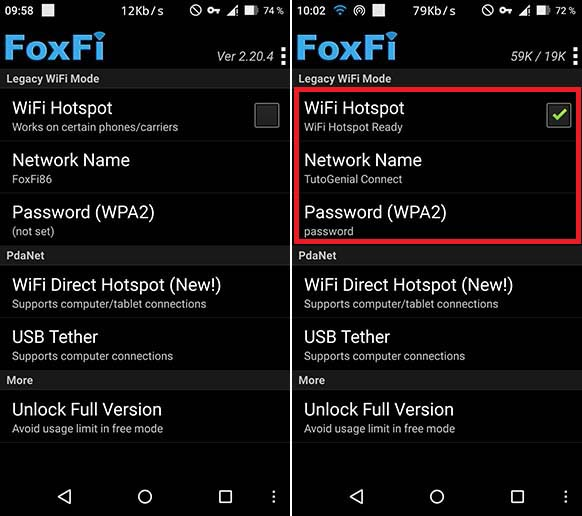 Partage connexion avec FoxFi