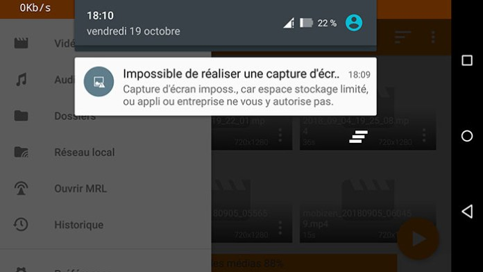 Impossible de faire une capture d'écran !