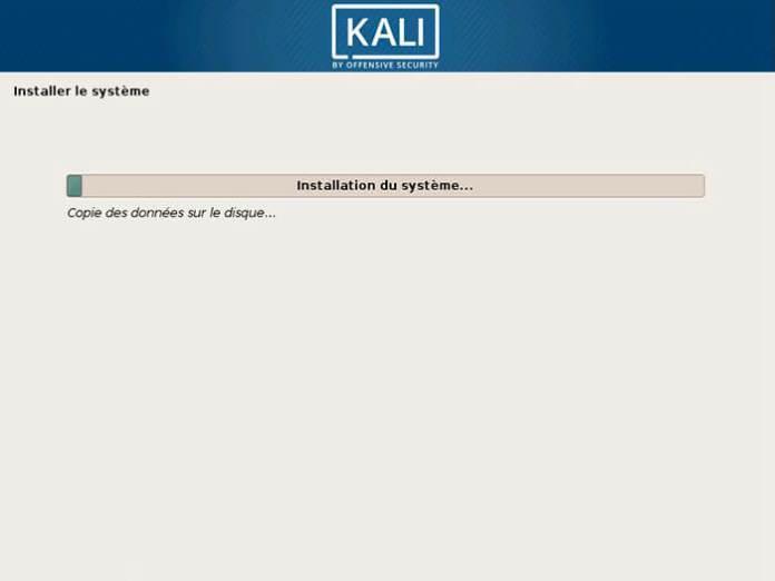 Kali Linux en cours d'installation !