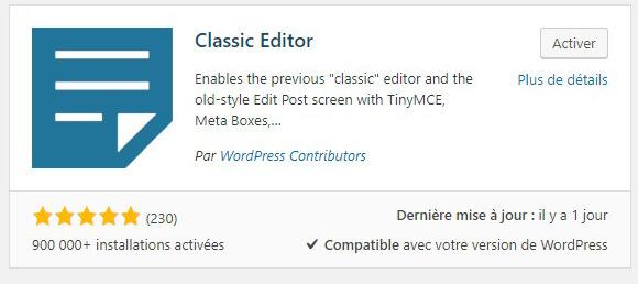 Activez Classic Editor !