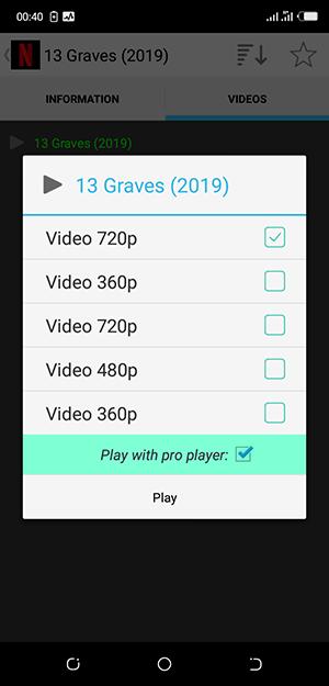 Choisissez la qualité de votre film ou serie et cliquez sur le bouton Play !