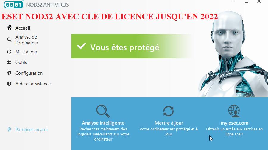 ESET NOD32 Antivirus 13.0.24.0 avec clé de licence valide jusqu'en 2022