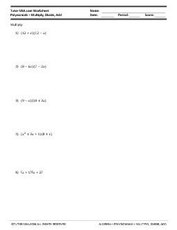 Worksheet Polynomials