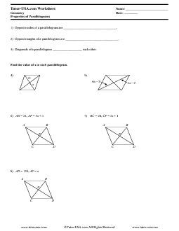 Worksheet Properties Of Parallelograms