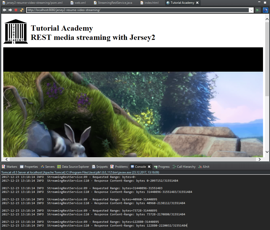 REST chunked video streaming with Jersey2 - Tutorial Academy