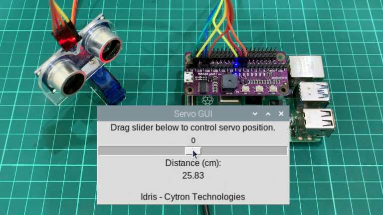 Control Servo and Display Sensor's Reading Using GUI on Raspberry Pi