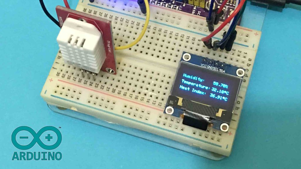Display Temperature and Humidity on OLED using DHT22 and Arduino