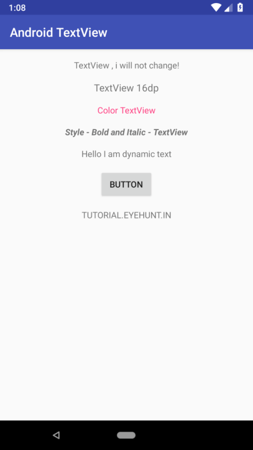 Android TextView and setText Dynamically example in Kotlin output all