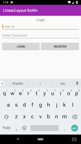 Output screenshot Android Linear Layout example