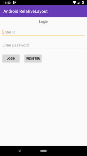 android RelativeLayout app exmaple output