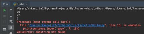 Python string index() Function | Get index of substring error output