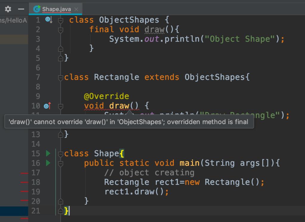 Java final method example