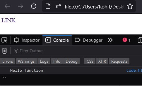 Execute JavaScript on link click