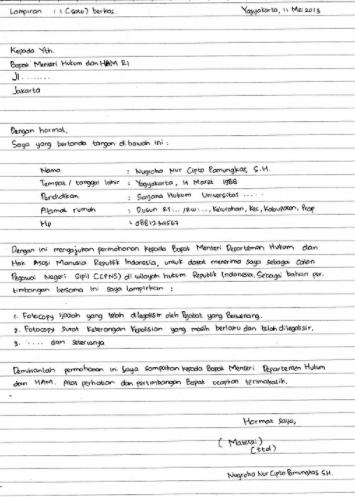 contoh lamaran kerja tulis tangan