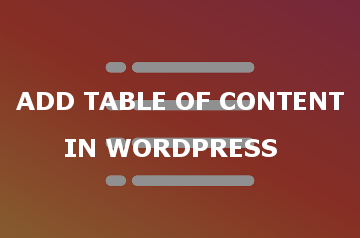 Add Table of Content Wordpress