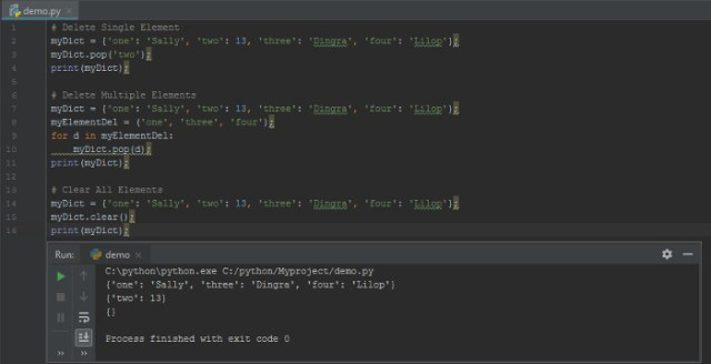 How to delete multiple elements of Dictionary in Python