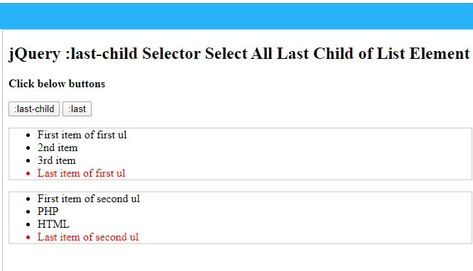 jQuery :last-child selector