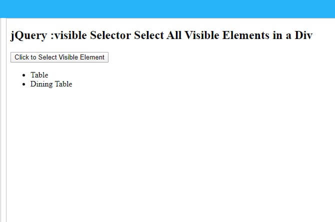 jQuery Visible Selector Image