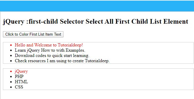 Live demo for jquery :first-child selector