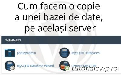 Cum facem o copie a unei bazei de date, pe același server