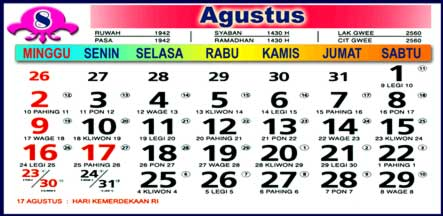 Kalender Agustus 2009