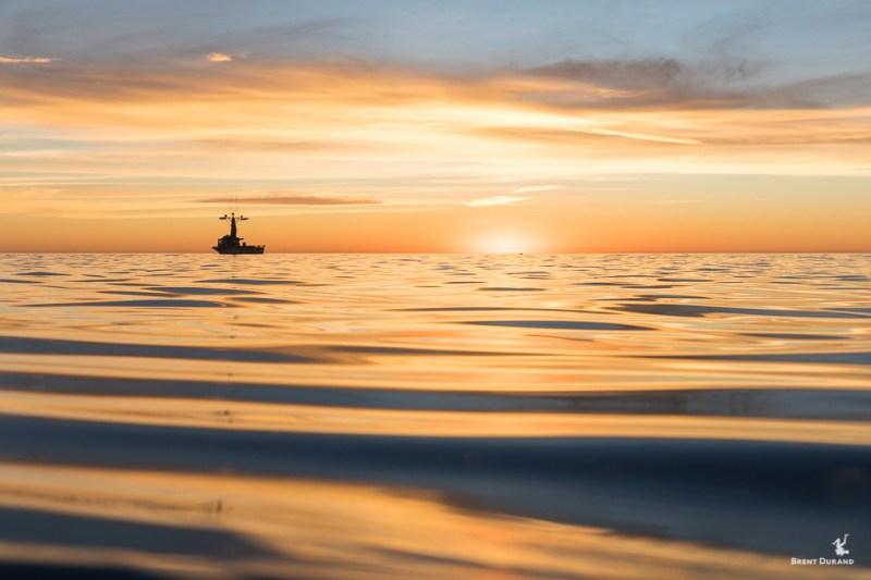 squid fishing boat in redondo beach at sunset