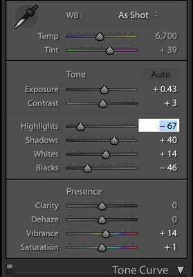 Adjusting sliders in the basic tone curve panel.