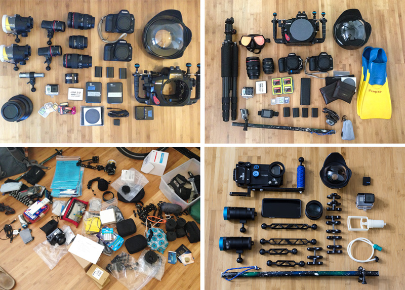 Underwater Camera Gear Layouts Ready to Pack
