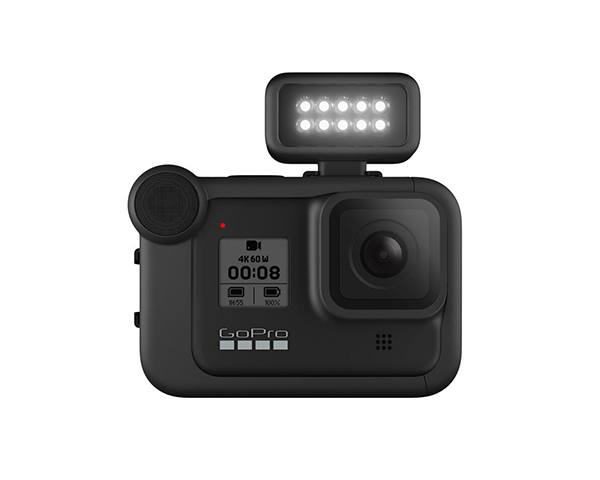 The GoPro Light Mod mounted on the new Media Mod with microphone.