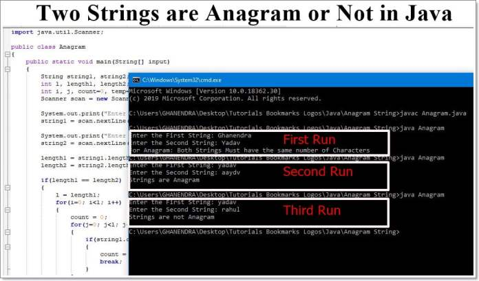 Strings are Anagram or not Java Program Output