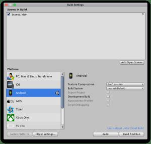 build settings unity