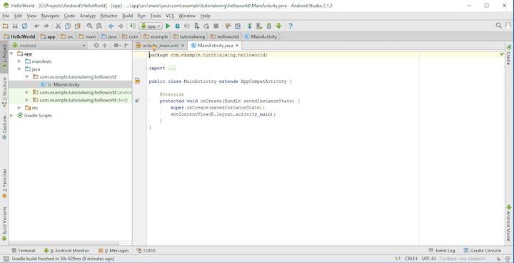 Tutorialwing - Android Studio New Project Step-6