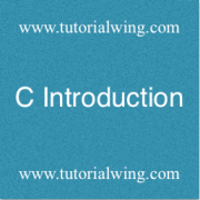 Tutorialwing - C introduction