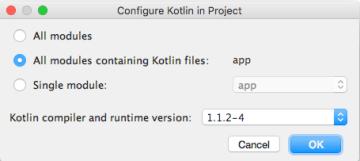 Choose Kotlin Version to Configure