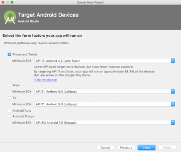 Select Target Devices in Android Project